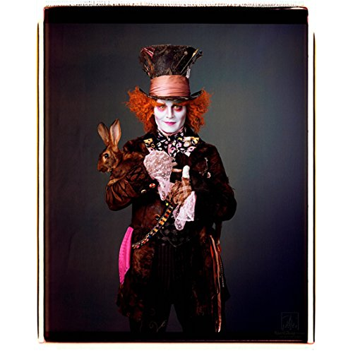 (Alice Through the Looking Glass 8x10 Photo Johnny Depp as Mad Hatter Holding Brown Bunny Grey Background Pink Kerchief)