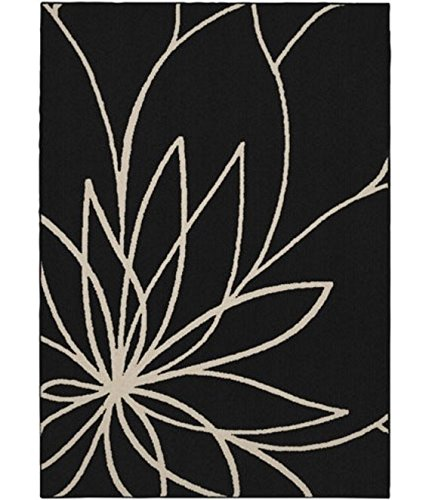 DormCo Grand Floral Rug - Black and Ivory - 30