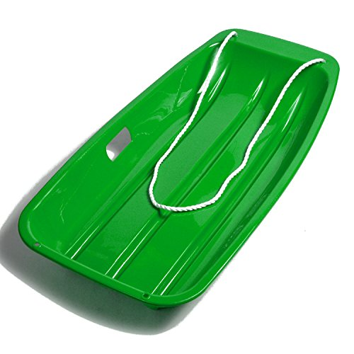 AGPTEK 35 Inch Durable Downhill Sprinter Toboggan Snow Sled for Kids Boys Girls Adults with Built-in Handles and Pulling Rope (Green)