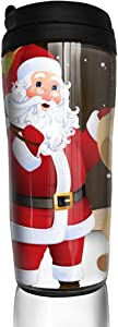 12 oz Tumbler with Lid Little Kulit And Santa Claus Cool Coffee Cups for Women Men Travel Mugs Birthday Friends Gifts