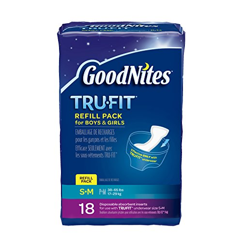 : GoodNites TRU-FIT Disposable Absorbent Inserts for Boys & Girls, Refill Pack, Size Small/Medium, 18 ct.