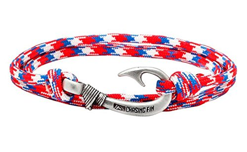 Chasing Fin Adjustable Bracelet 550 Military Paracord with Fish Hook Pendant (Red White Blue #2) -