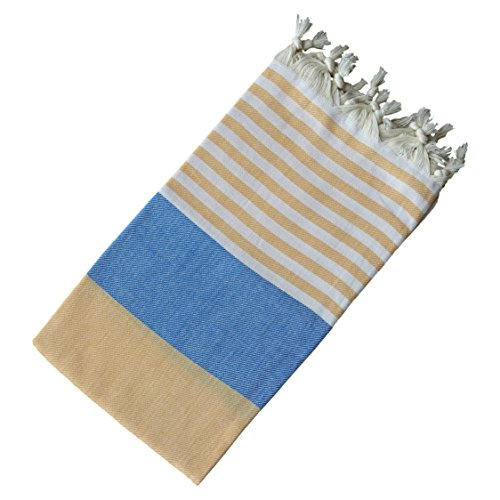 Dandelion - Palette Pattern - Naturally-Dyed Cotton Turkish Towel Peshtemal - 71x39 Inches - Navy Blue & Apricot Orange