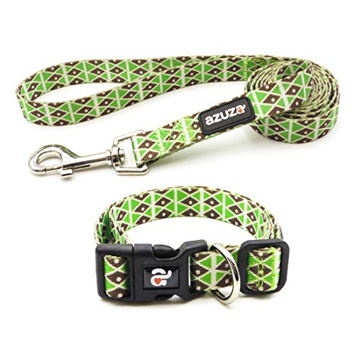 (azuza Dog Collar and Leash Set, Adjustable Nylon Collar with Matching Leash, Green Diamond, Medium)