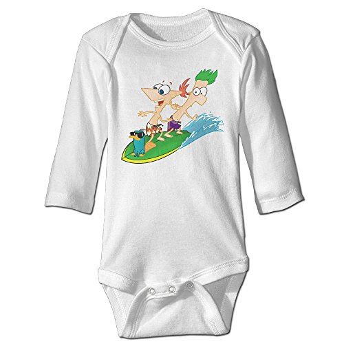Baby 100% Cotton Long Sleeve Onesies Toddler Bodysuit Phineas And Ferb Jumpsuit Clothes White Size 24 Months