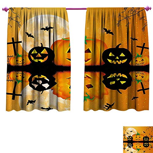 Anniutwo Halloween Waterproof Window Curtain Spooky Carved Halloween Jack o Lantern and Full Moon with Bats and Grave Lake Blackout Window Curtain W72 x L45 Orange -