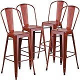 Flash Furniture Distressed Kelly Red Metal Indoor Barstool (4 Pack), 30-Inch