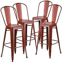 Flash Furniture Distressed Kelly Red Metal Indoor Barstool (4 Pack), 30-Inch