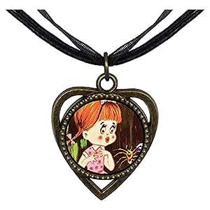 Chicforest Bronze Retro Style little girl spider Heart Shaped Pendant