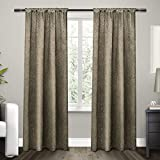 Exclusive Home Curtains Embossed Satin Rod Pocket Window Curtain Panel Pair, Taupe, 54×96