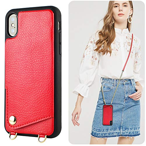 iPhone Xs Max Wallet Case, iPhone Xs Max Crossbody Case, JLFCH Leather Case with Card Slot Holder Crossbody Chain Purse Shoulder Strap Back Cover for Apple iPhone Xs Max,6.5 inch -