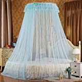 Mosquito Net Bed Canopy Curtain Round Lace Ruffle Hung Dome Netting Tent For All Size Bed ( Color : Blue , Size : 2 m )