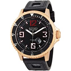 Ritmo Mundo Men's 313 RG Carbon Hercules Titanium Automatic Black Dial Watch