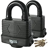 Target TL171 Pack of 2 50mm Waterproof Weatherproof Heavy Duty Padlocks - 3 Keys Per Lock - Fully Coated - Designed to Use Outdoors