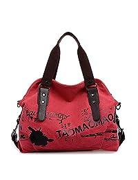 Dethan Womens Casual Canvas Oversize Top Handle Purse Shoulder Bag