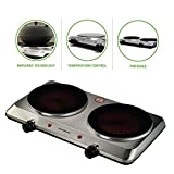 Ovente 120V 1500 Watts Double Cooktop Burner Portable Ceramic Infrared, Stainless Steel (BGI202S)