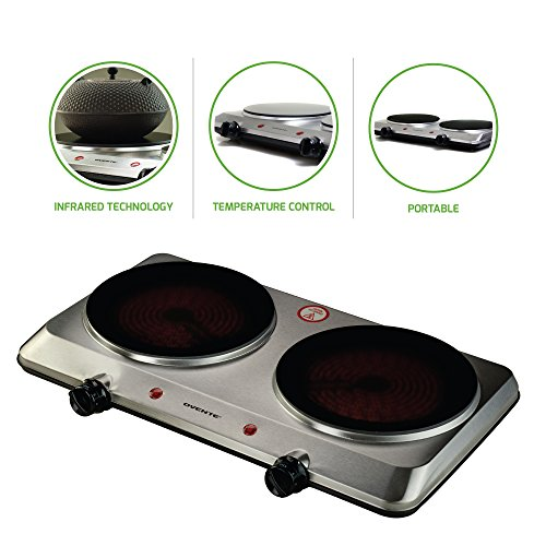 Ovente Countertop Infrared Burner - 1500 Watts - Ceramic Double Plate Cooktop with Temperature Control, Non-Slip Feet - Indoor/Outdoor Portable Electric Stove - Brushed Stainless Steel (BGI202S)
