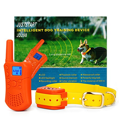 Dog Remote Training Collar Rechargeable and Waterproof – Vibratin, Beep, and One-Way Audio Chat Voice Call Long Range 1500 Feet (1 Dog System)