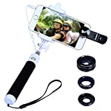 Apexel Mini Foldable Wired Built-in Remote Shutter Selfie Stick Monopod + 3 in 1 Fisheye, Wide Angle, Macro Phone Lens Kit for iPhone Samsung Black