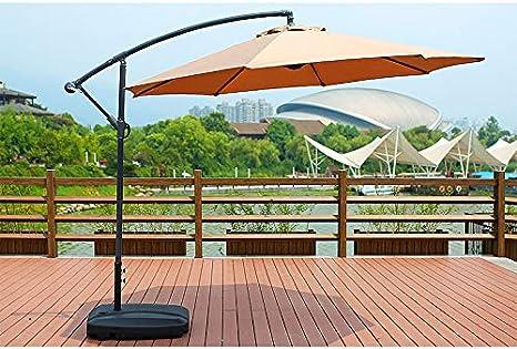 HLLL Sombrilla Grande De 3 M, Sombrilla Colgante En Voladizo con Manivela Y Base De Inyección De Agua, Sombrilla para Jardín Al Aire Libre, para Exteriores, Jardín Y Patio: Amazon.es: Deportes y