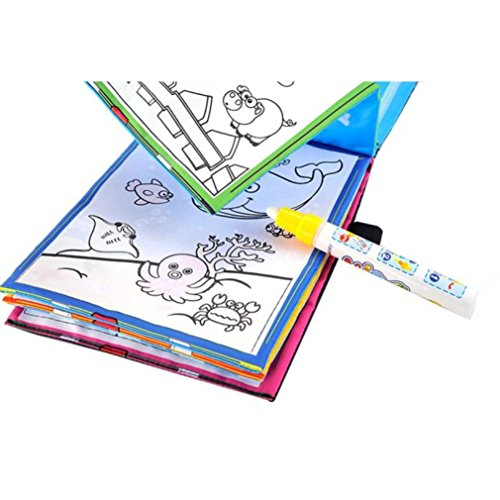 Aqua Doodle, AMA(TM) Children Water Drawing Writing Book Magic Pen Animals Painting Kids Educational Toy (Multicolor) -