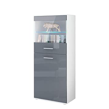 Tall Display Cabinet Cupboard Almada In White Matt / Grey High Gloss