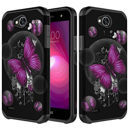 Samsung Galaxy J7 Prime Case, J7 V Case, J7 Perx Case, J7 Sky Pro Case, SOGA [Astro Guard Series] Dual Layer Hybrid Armor Protective Cover Protector Case for Samsung J7 2017 - Purple Butterfly