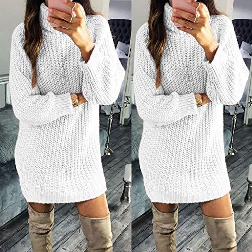Blanc Tunique Automne Col À Hauts Femme Chaud Roulé Chic Pullover Longues Ample Hiver Uface Pull Tricot Manches aOxqwC4f
