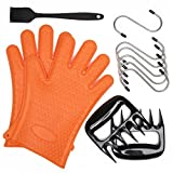 Silicone BBQ/Cooking Gloves - Bear Claws - Silicone Basting Heat Resistant Kitchen Brush - S Shaped Hanging Hooks Kitchen ( 2 Orange Silicone Gloves & 2 Meat Claws & 1 BBQ Brush & 6 S Shaped Hooks )