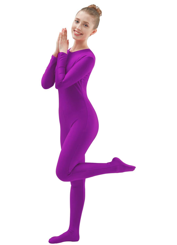 a6a09ef1d7e Ensnovo Womens Lycra Spandex One Piece Unitard Full Bodysuit Zentai Suit  Costume Violet XXL
