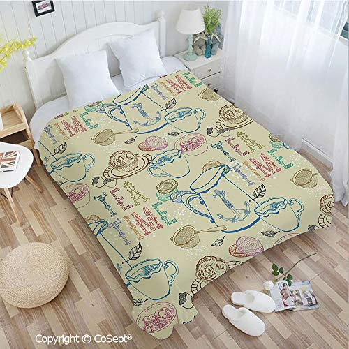 - PUTIEN Soft Flannel Blanket,Pale Colored Tea Time Themed Image with Various Kitchenware and Sweets Pattern,All Season Use(72.83