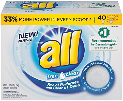 All Powder Laundry Detergent, Free Clear for Sensitive Skin, 52 Ounces, 40 Loads (3 Pack of 40 Loads)