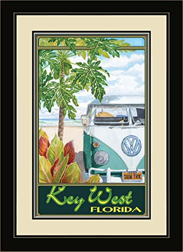 Northwest Art Mall ED-5878 FGDM STH Key West Florida Truck Hula Framed Wall Art by Artist Evelyn Jenkins Drew, 16 x - Key Mall West Florida
