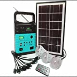 Tapetum Solar LED Emergency Home Light With FM and Torch, 10-Watt Solar Generator Portable kit,Power Inverter,Solar Generator System for Home & Camping,9000mAh Rechargeable Battery Pack UPS Power Supply, Included 6 Watt Solar Panels