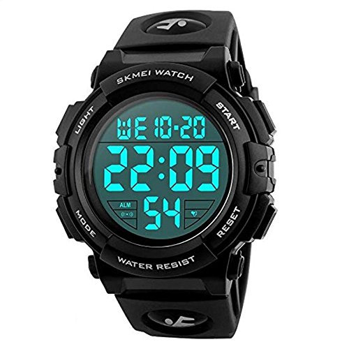 Mens Black Digital Sport Watch – Black Digital Watch for Men for Teen Sport Outdoor Silicone Watch with 5 ATM Waterproof, Chronograph, Alarm