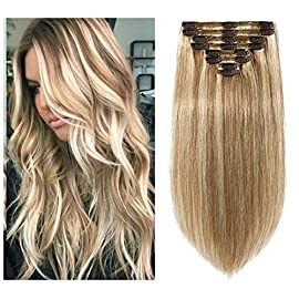20″ Thick One Piece Wavy Curly Half HeadSolid Color Clip in Hair Extensions (20″ – Darkest brown)