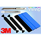 Complete Car Wrap Vinyl Tool Kit with 3M 94 Primer, 3M Squeegee with Replaceable Felt Edge Tips and Precision Cutting Knife Blade
