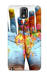 For Galaxy Case, High Quality World Map On Hands For Galaxy Note 3 Cover Cases / Nice Case For Lovers' Gifts by lolosakes