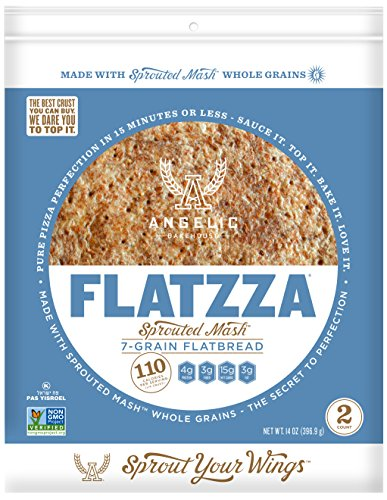 Angelic Bakehouse Sprouted Seven Grain 12 Inch Flatzza Pack, 14 Ounce - Grain Pizza