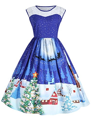 Womens Christmas Dress Lace Round Neck Sleeveless Loose Plus Size A-line Flared Cocktail Party Dresses Blue ()