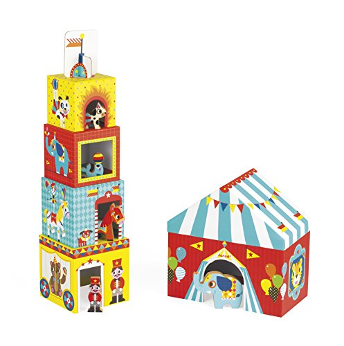 Janod MultiKub Circus Stacker with Figures]()