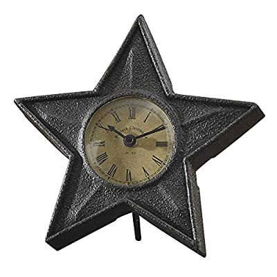 Park Designs Black Star Table Clock - Star shaped metal construction operates on 1 AA battery, not included - clocks, bedroom-decor, bedroom - 51NLfitmdcL. SS400  -