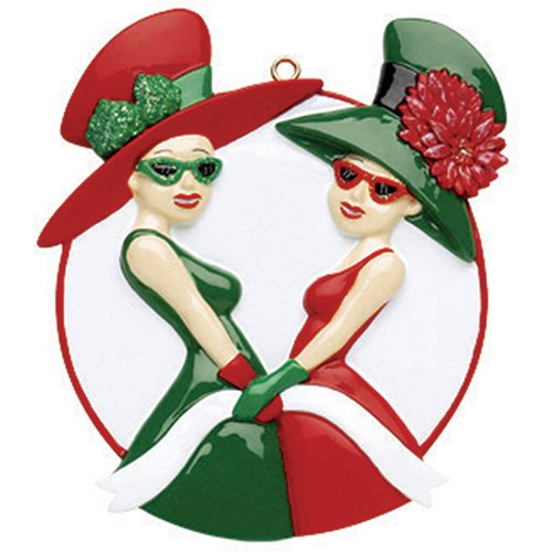 Personalized Women of 2 Christmas Tree Ornament 2019 - Special Girl Friend Green Red Dress Flower Hat Sunglasses Fashion Cousin Sisters BFF Forever Gift - Free Customization (Two) (Best Friends Forever Ornaments)