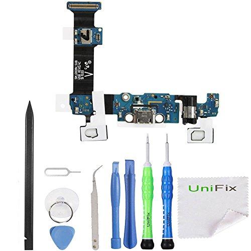Unifix USB Charging Dock Port Flex Cable + Headphone + Microphone Touch Key Ribbon Flex Cable Replacement for Samsung Galaxy S6 Edge Plus G928V Verizon + Tool Kit (Verizon Wireless)