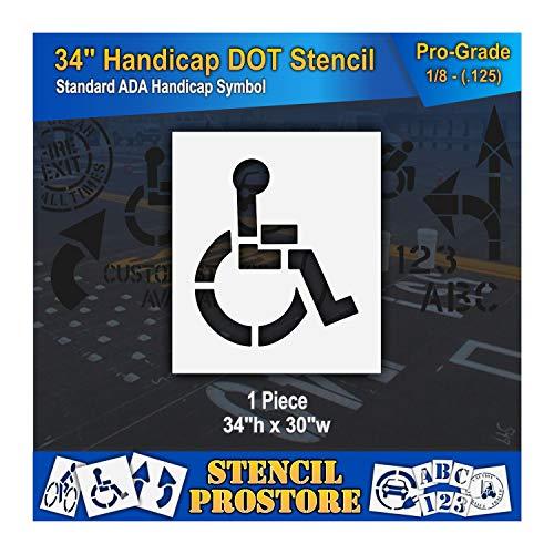 "Pavement Stencils - 34 inch - Handicap - ADA Stencil - 34"" x 30"" x 1/8"" (128 mil) - Pro-Grade"