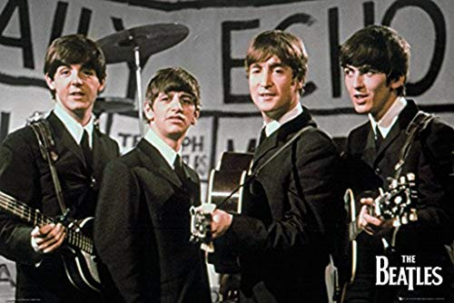 Music Maxi Poster featuring The Beatles in 1964 for the Daily Echo 91.5x61cm