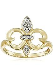14k Yellow Gold Fleur-de-Lis Diamond Ring