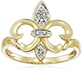 14k Yellow Gold Fleur-de-Lis Diamond Ring (.03 ct, I-J Color, I2-I3 Clarity), Size 7