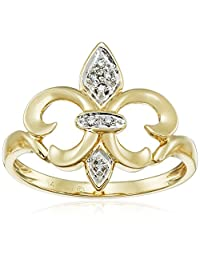 14k Yellow Gold Fleur-de-Lis Diamond Ring