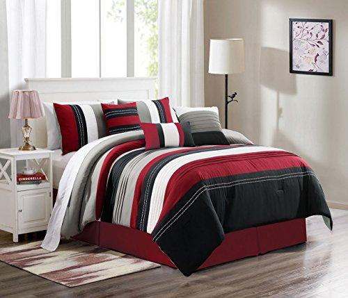 7 Piece Blair Bugundy/Black/Gray Comforter Set King